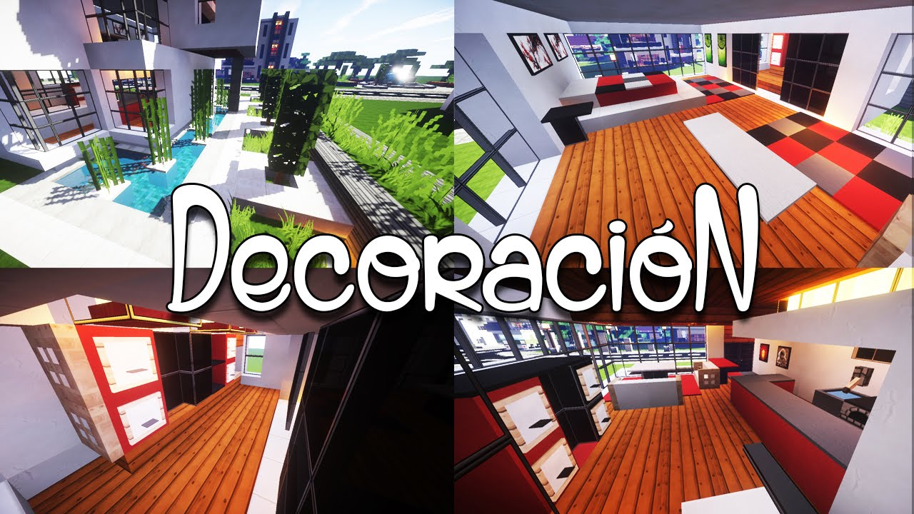 Como decorar una casa moderna en minecraft youtube for Como decorar una casa moderna