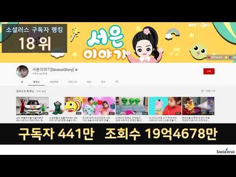 2019 한국 유튜버 구독자 순위 - 소셜러스 유튜브 빅데이터로 알아보는 유튜브 랭킹