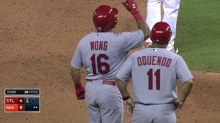 STL@MIA: Wong lines triple to plate Carpenter in 9th
