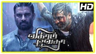 Vikram Vedha Movie Scenes | Madhavan finds Vijay Sethupathi | Shraddha