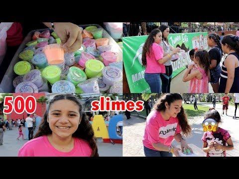 500 SLIMES EN EL PARQUE DE JUEGOS Y DIVERSIONES | Regalando mucho slime