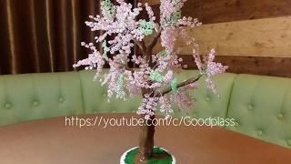 Плетение бисером. Дерево сакура. Бисероплетение. Часть 1