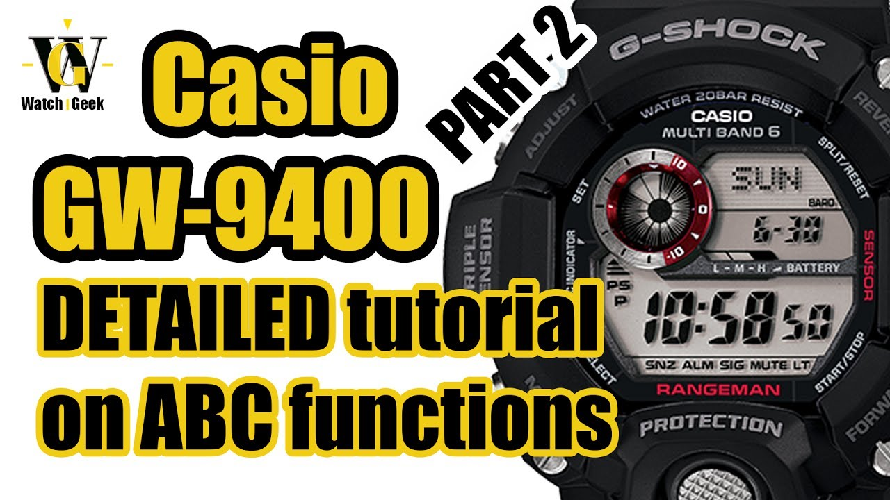 Casio GW 9400 Rangeman 3410 - tutorial on how to setup and use Altimeter  Barometer & Compass