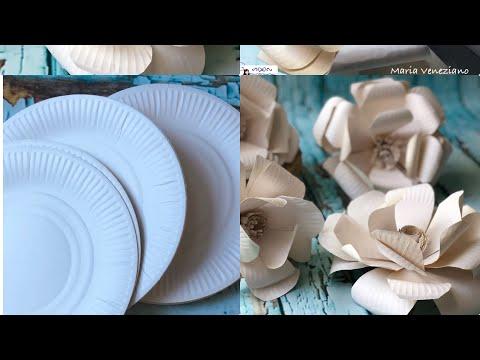Easy DIY How to make flowers with paper plates tutorial facilissimo come realizzare fiori con piatti
