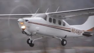 Cessna 210 taking off from Nelson, British Columbia (CZNL)