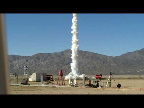 Zinc sulfur rocket zooms off launch pad