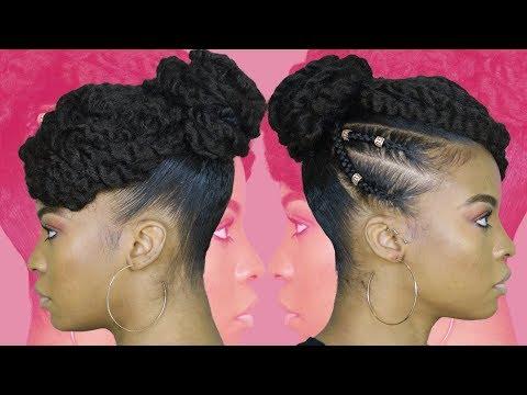 Tamera Mowry Inspired Twisted Updo using Marley Hair   NATURAL HAIR