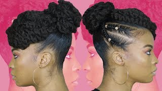 TAMERA MOWRY INSPIRED TWISTED UPDO USING MARLEY BRAIDING HAIR | NATURAL HAIR