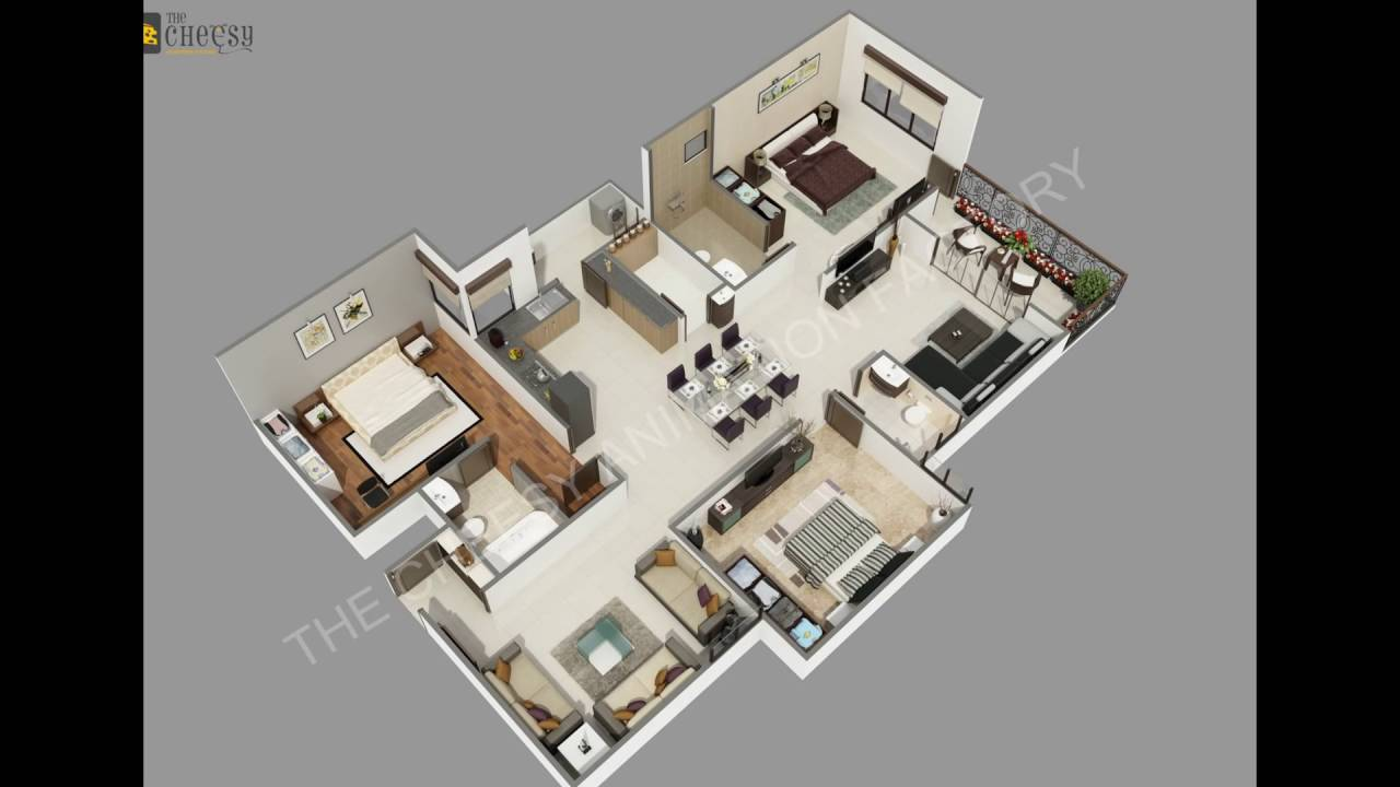 3d villa floor plan studio