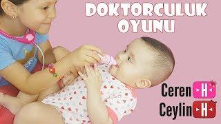 Ceylin-H & kardeşi Ceren-H | Doktorculuk Oyunu - Sister's Funny Baby Care Educational Doctor Game