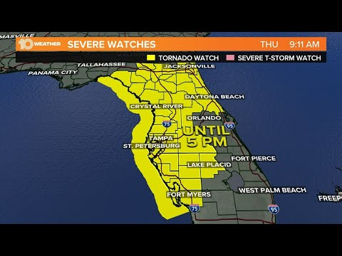 Tornado watch in effect until 5 p.m. for Tampa Bay as strong storms ...