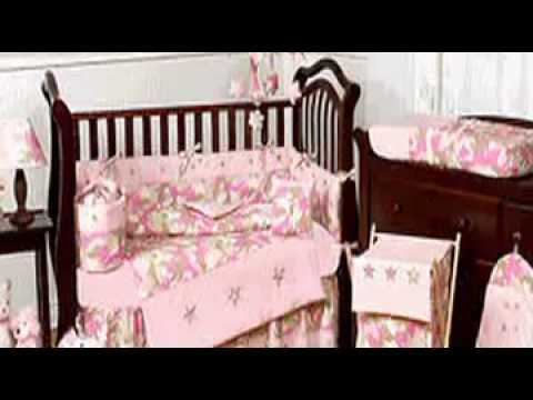 Pink and Khaki Camouflage Baby Girl Crib Bedding Set