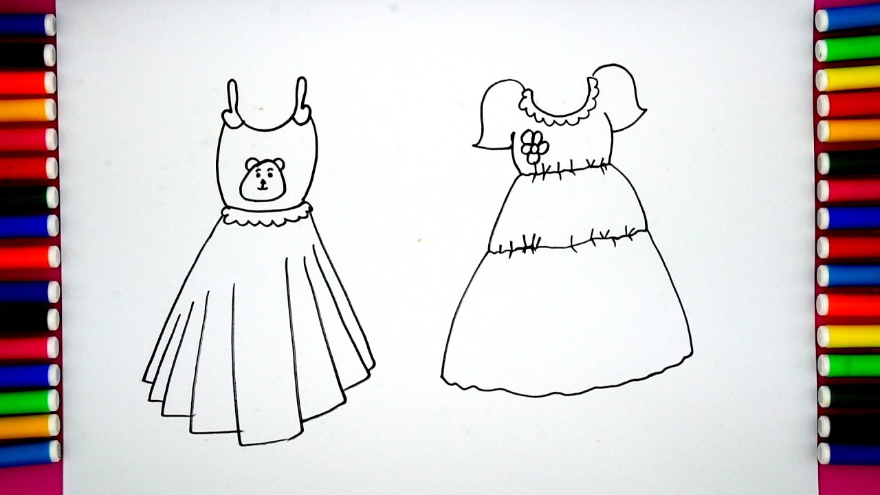 how to draw and color baby dress step by step drawing for kids