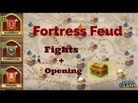 Castle Clash Fortress Feud  Battles + Opening 12 Chest Ranked 1!