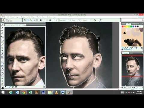 Painting of Tom Hiddleston