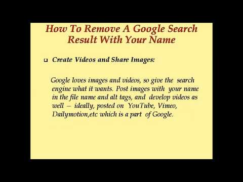 How To Remove A Google Search Result With Your Name