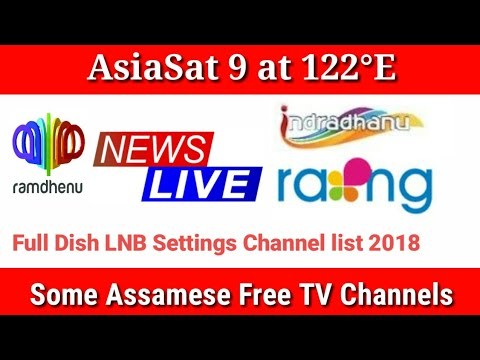 AsiaSat 9 at 122 0°E C Band Dish LNB Position Setup, Free To Air Assumes  Channel list 2018