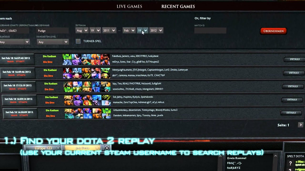 tutorial how to find dota 2 replays youtube