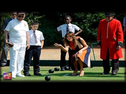 Stunning Melania Trump Visits with School Children – Bowls with Theresa May's Husband in England