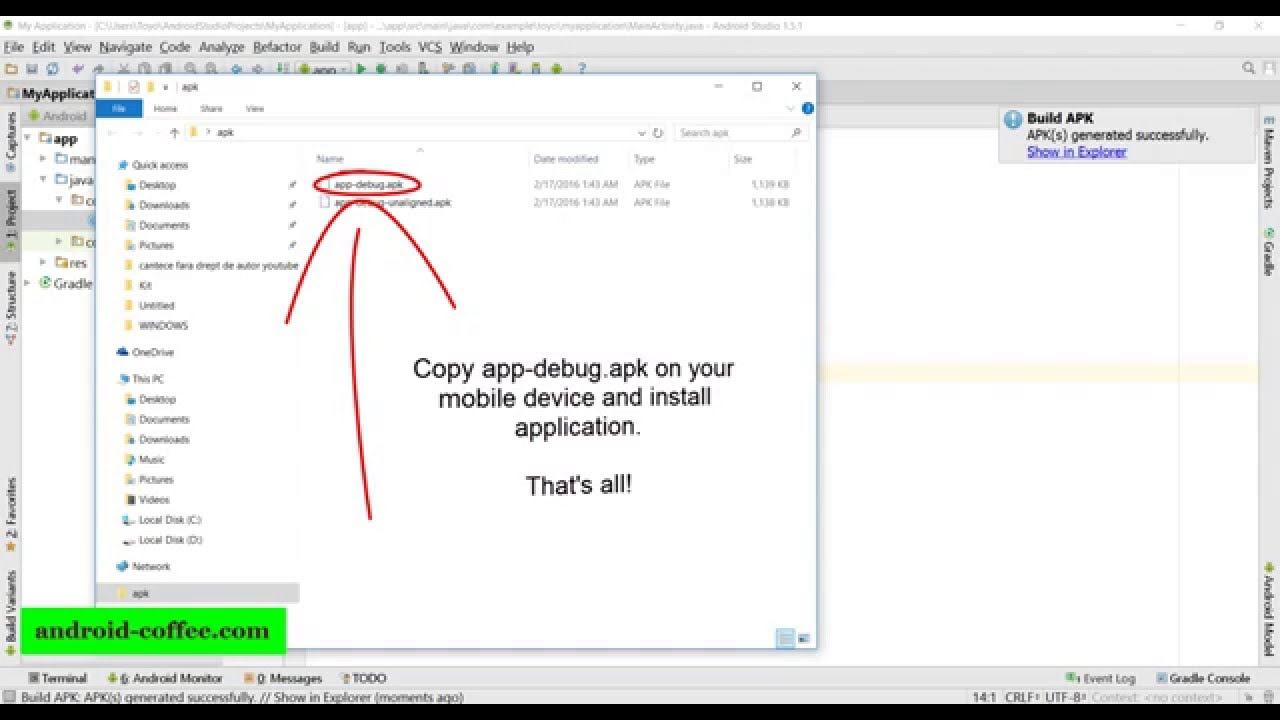 Tutorial how to export app from project in Android Studio (create apk)