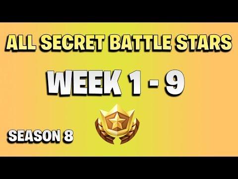 All Secret Battle Stars Week 1 To 9 - Fortnite Season 8