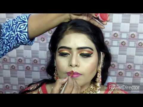इंडियन ब्राइडल मुस्लिम मेकअप Indian muslim bridal makeup with braid hairstyle on thin hairs(Hindi)