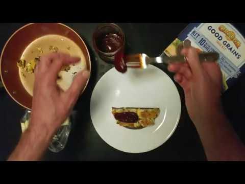 MONTEREY JACK CHEESE EGG SMOKED SCALLOP CHIPOTLE PEPPER BLUE CORN TOSTADO