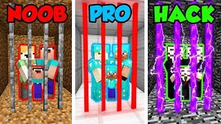 Minecraft Noob Vs. Pro. Vs. Hacker: Family Prison Challenge In Minecraft! (animation)