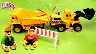 Машинки для строительства от Технопарка: Транспортировщик, Погрузчик, Самосвал Умные Дети