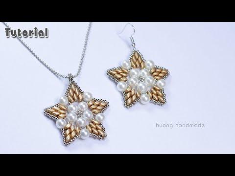 Diy beaded pendant or earrings    Jewelry making tutorial    Beading tutorial for beginners