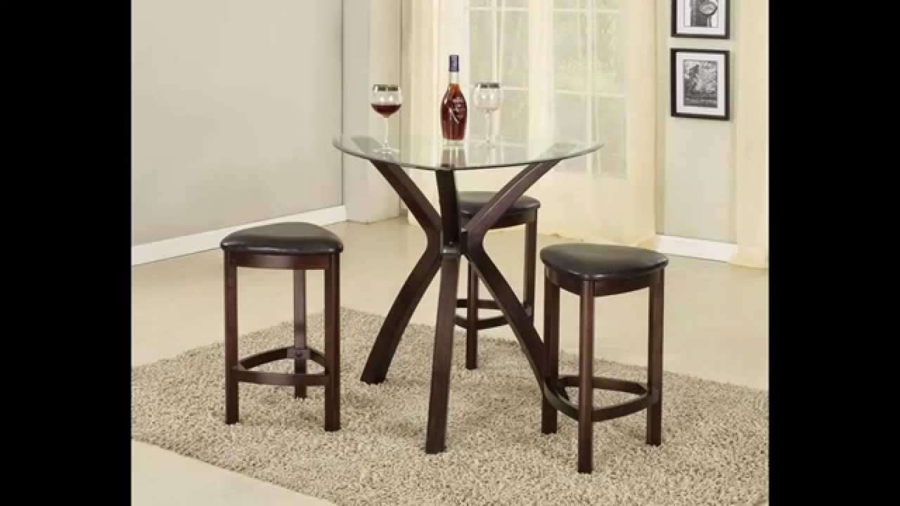 Roundhill Furniture 4 Piece Triangle Solid Wood Bar Table