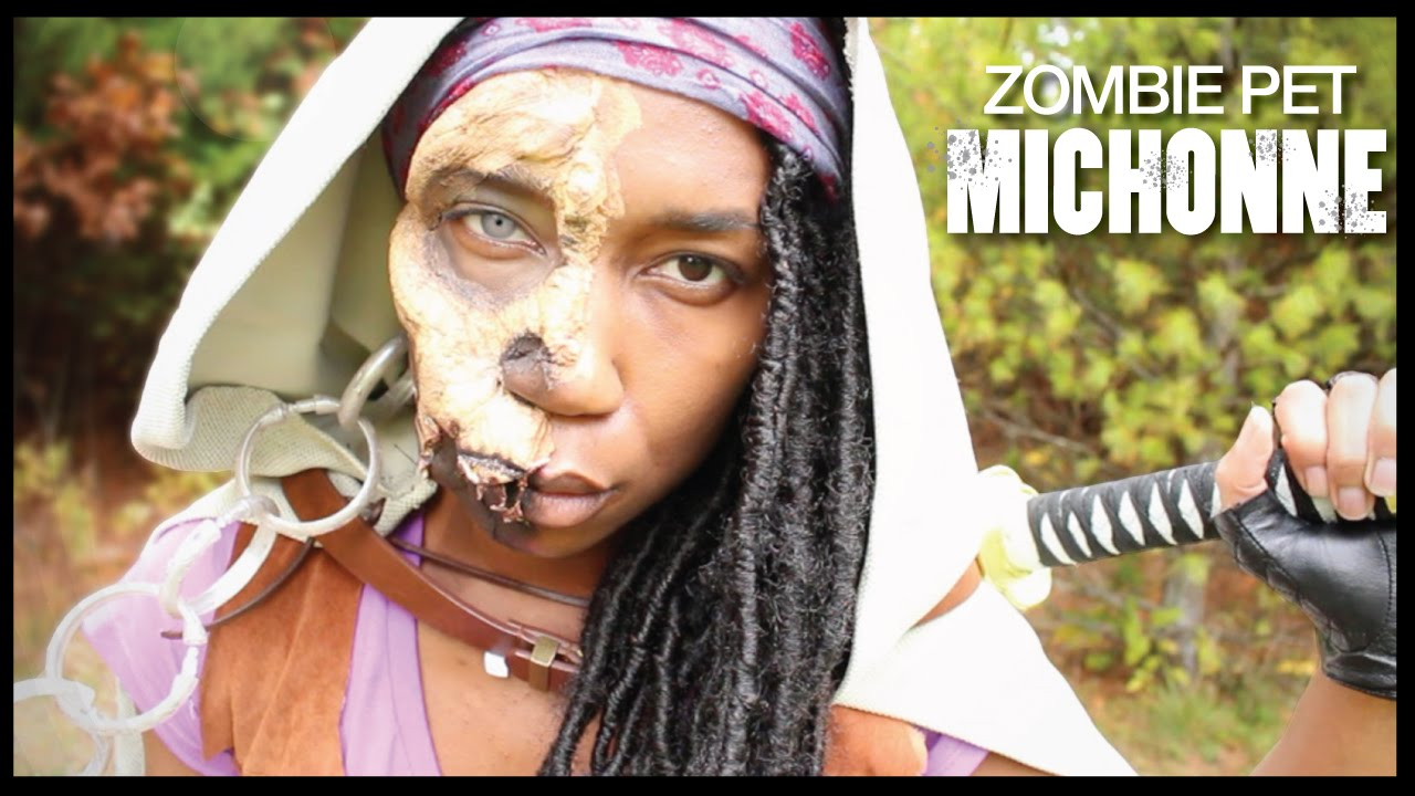 Jawless Zombie Pet Michonne + DIY Michonne Cloak | The Walking Dead Costume Cosplay - YouTube  sc 1 st  YouTube & Jawless Zombie Pet Michonne + DIY Michonne Cloak | The Walking Dead ...