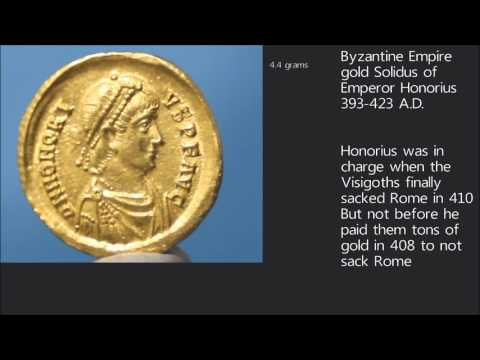 393 A.D. Roman Empire gold solidus of Honorius