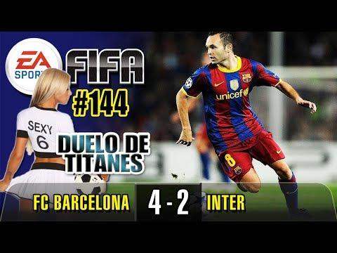 874. 🔵 FC BARCELONA - INTER. GRAN PARTIDO MUY REÑIDO CON GOLES ESPECTACULARES. LIGA FIFA GAMEPLAY.