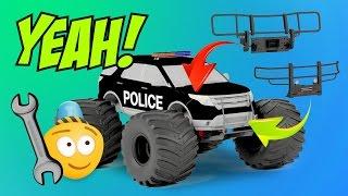 Fire Brigade & Police Monster Trucks Upgrade Tuning ☠ Monster Truck Stunts ☠ Monster Truck Race