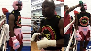 FLOYD MAYWEATHER LATE-NIGHT SPARRING FOR CONOR MCGREGOR CLASH; 1 AM HARDCORE GRIND