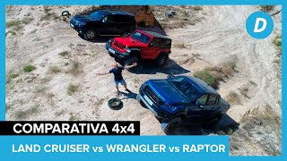 Comparativa 4x4, al límite: Toyota Land Cruiser Prado vs Jeep Wrangler Rubicon vs Ford Ranger Raptor