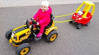 Little Girl Elis Ride On Tractor with Cozy Coupe Little Tikes with Baby Dolls Outdoor Activity
