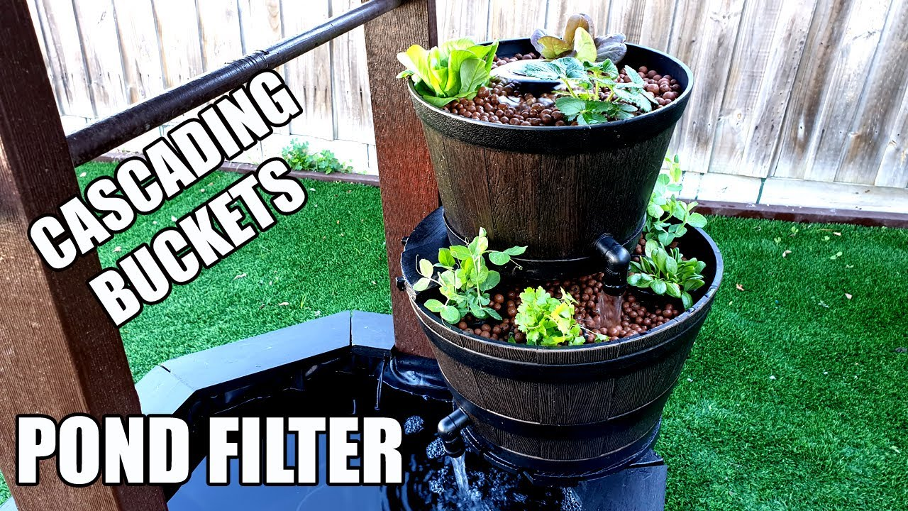 DIY Pond Filter With Cascading Buckets | Backyard Garden Pond Mini