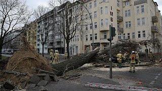 Hurricane force winds batter Europe