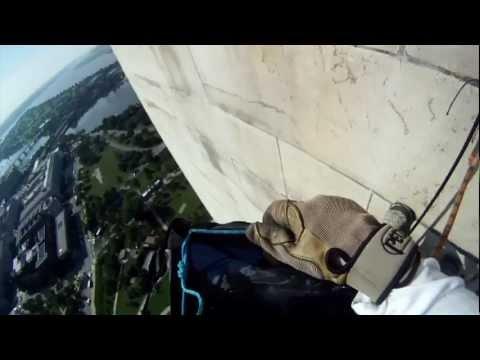 Washington Monument Earthquake Damage - Helmet Cam
