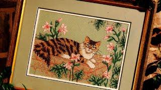 """Вышивка крестом схемы, """"Кот в цветах"""""""