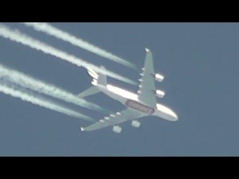 Emirates Chemtrail Flugzeug und UFO