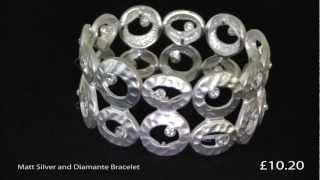 Matt Silver and Diamante Bracelet Thumbnail
