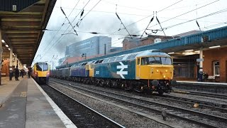 British Rail Large Logo 47847 and GBRf 47843 Gypsum Train passing Doncaster