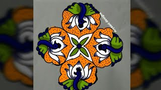Latest and creative independence day rangoli...9 to 3 dots..Easy rangoli designs..