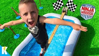 Kids Run the American NINJA Warrior OBBY in Real Life! KIDCITY