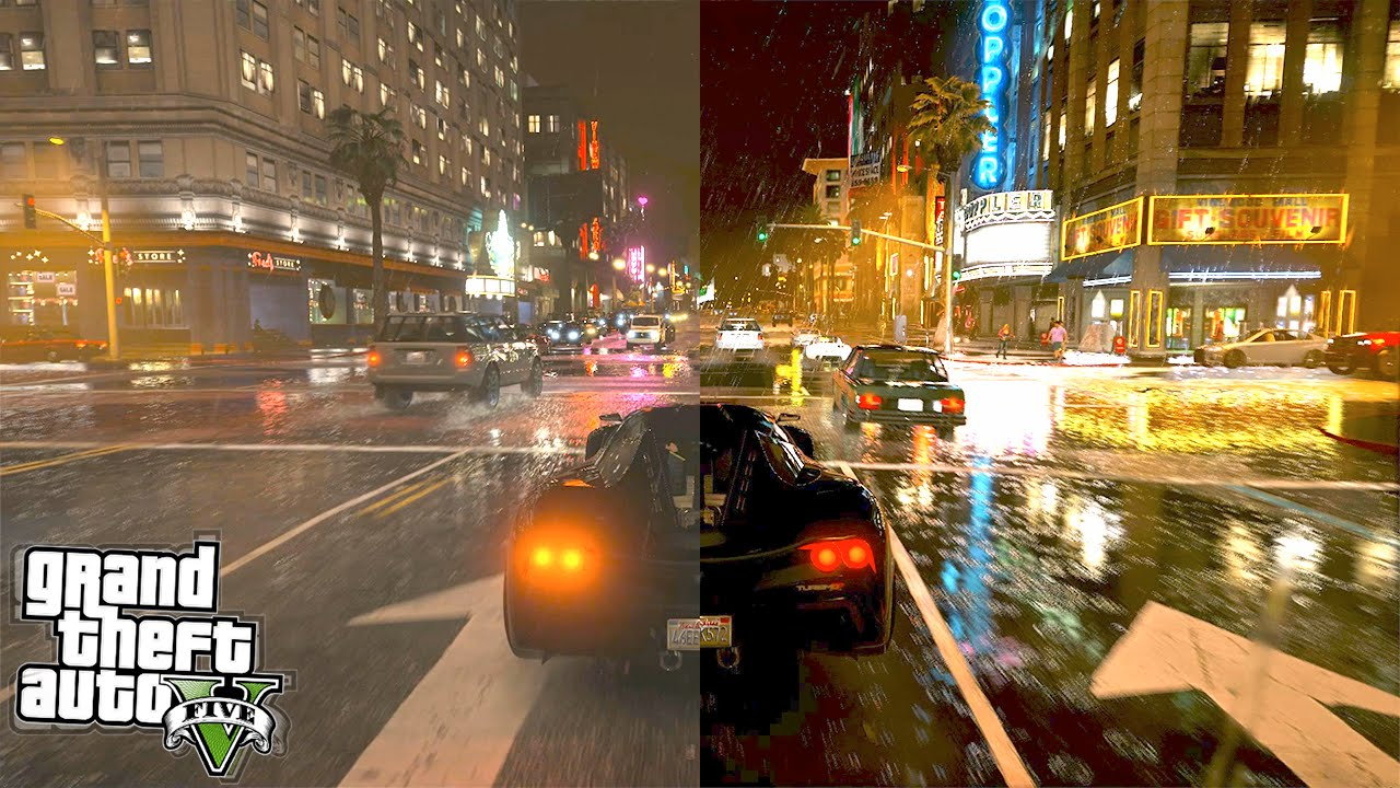 GTA 5 Graphics Comparison : Vanilla vs 4K Real Life (GTA 5 Mods)