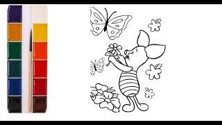 Раскраска для детей. Пятачок. Герои мультфильма Винни Пух. Нарисуй сам. Учим цвета.