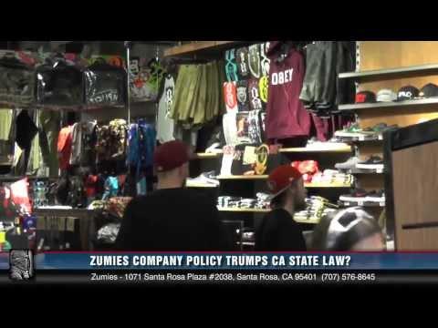 Zumiez Company Policy Trumps CA Law or so says an employee from the Santa Rosa Plaza stor avi